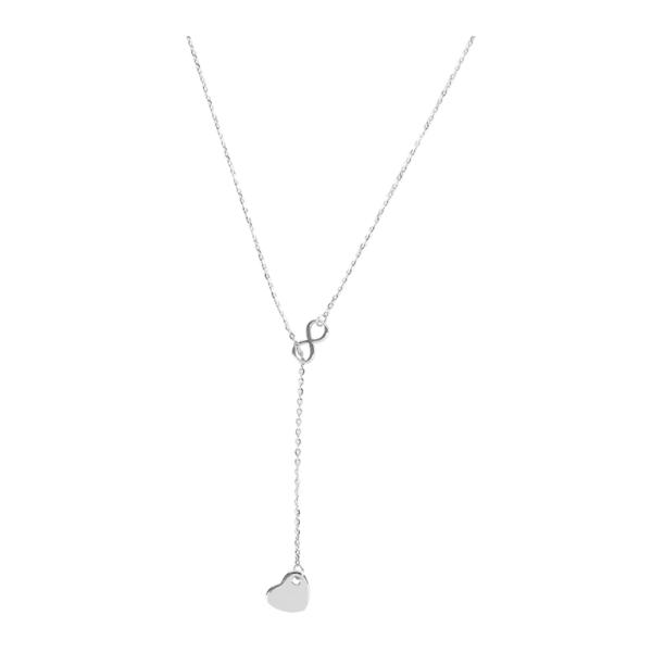 Celebrytka srebrna ze znakiem nieskończoności i sercem Ami Bijoux
