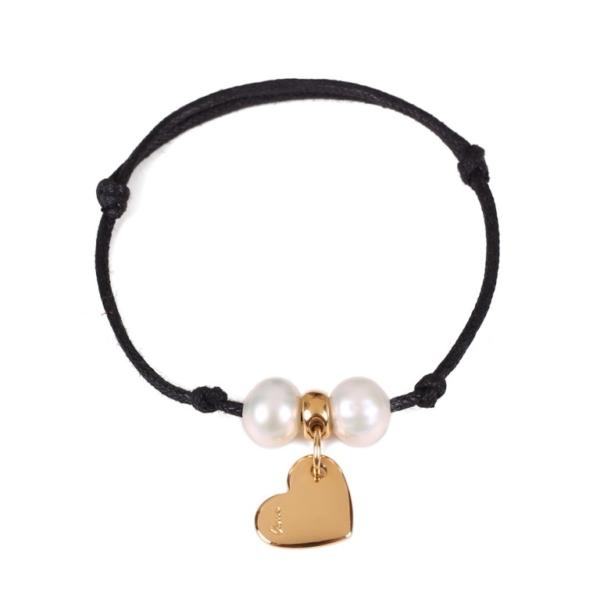 Bransoletka na sznurku z pozłacanym sercem i perłami
