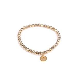 Bransoletka z hematytów złotych fasetowanych ze złotym medalikiem Ami Bijoux