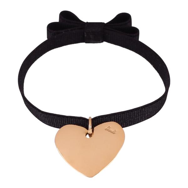 Bransoletka wstążka z kokardą i pozłacanym sercem (2 cm) od Ami Bijoux