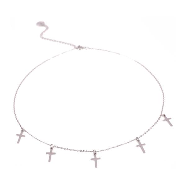Choker srebrny z krzyżami Ami Bijoux