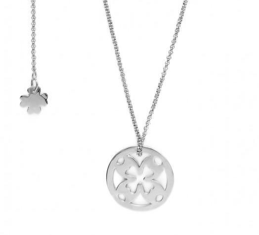 Naszyjnik ze srebrną koniczyną na rozecie i małą koniczynką