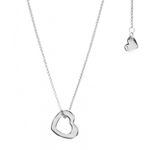 Naszyjnik ze srebrnym sercem i małym serduszkiem