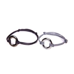 bransoletka sznurkowa z okrągłym tytanowym zapięciem
